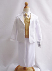 Boy Suit White with Champagne Vest, Long / Formal tie