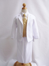 Boy Suit White with Gold Vest, Long / Formal tie