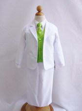 Boy Suit White with Green Apple Vest, Long / Formal tie