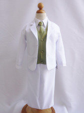 Boy Suit White with Green Sage Vest, Long / Formal tie
