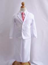 Boy Suit White with Guava Vest, Long / Formal tie