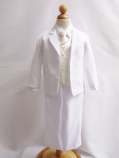 Boy Suit White with Ivory Vest, Long / Formal tie