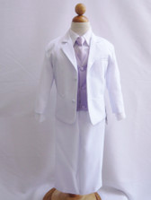 Boy Suit White with Lilac Vest, Long / Formal tie