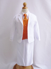 Boy Suit White with Orange Vest, Long / Formal tie