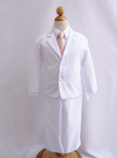 Boy Suit White with Peach Light Vest, Long / Formal tie