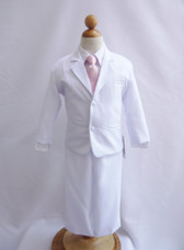 Boy Suit White with Pink Light Vest, Long / Formal tie