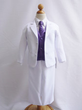 Boy Suit White with Purple Eggplant Vest, Long / Formal tie