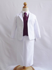 Boy Suit White with Purple Plum Vest, Long / Formal tie