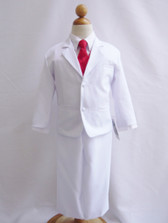 Boy Suit White with Red Cherry Vest, Long / Formal tie