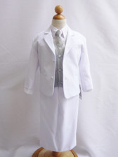 Boy Suit White with Silver Vest, Long / Formal tie