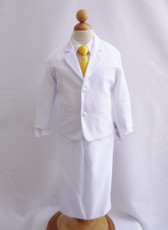 Boy Suit White with Yellow Vest, Long / Formal tie