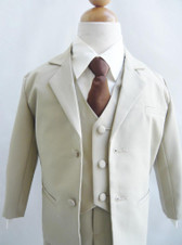 Boy Suit 2-Buttons Set in Beige with Brown