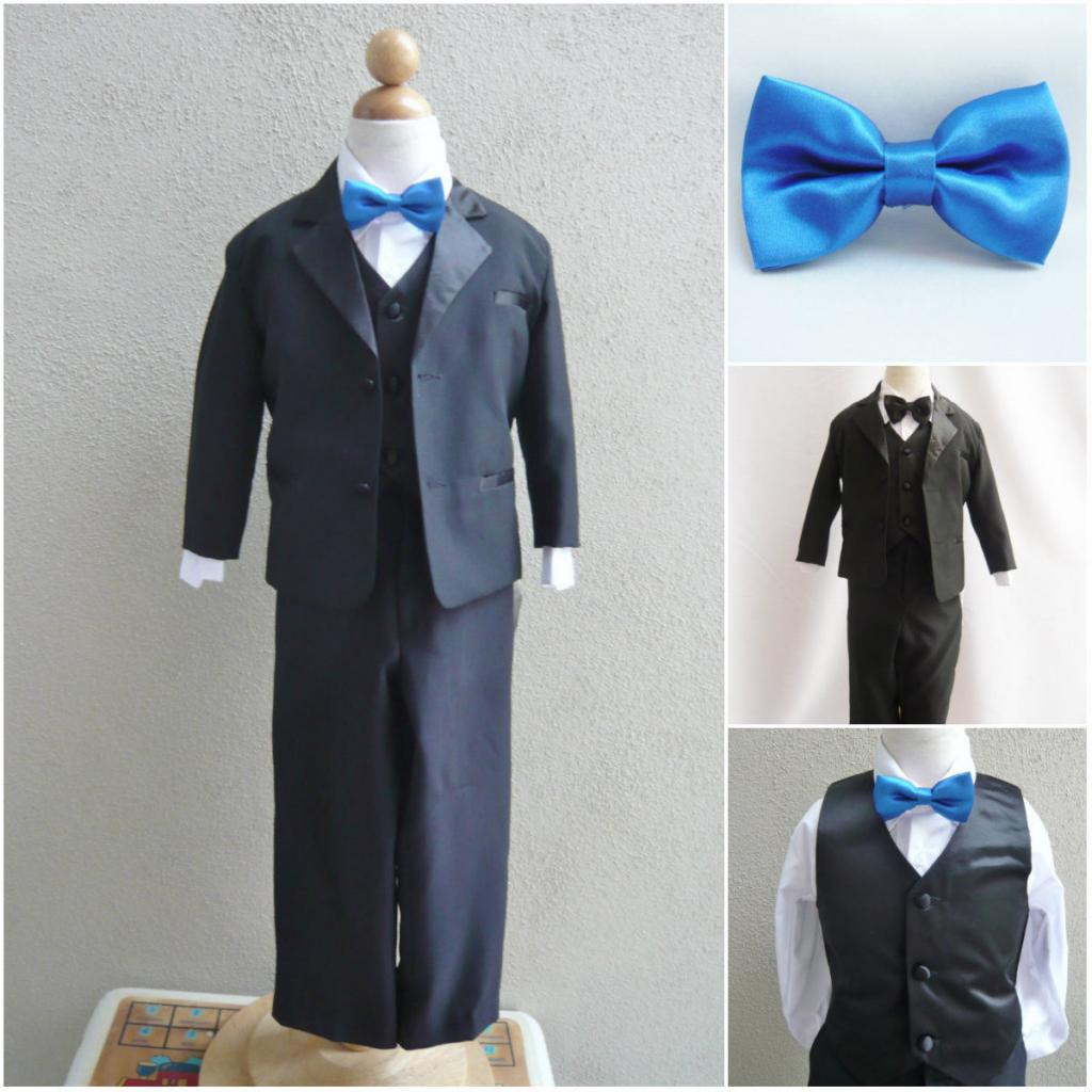 Boy S Suit Set With Bow Tie In Black With Blue Royal