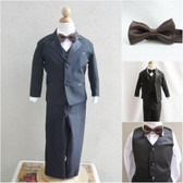 Boy's Suit Set with Bow Tie in Black with Brown