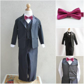 Boy's Suit Set with Bow Tie in Black with Burgundy