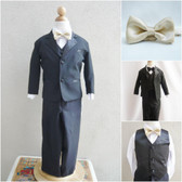 Boy's Suit Set with Bow Tie in Black with Champagne