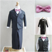 Boy's Suit Set with Bow Tie in Black with Dusty Rose
