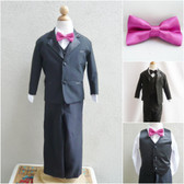 Boy's Suit Set with Bow Tie in Black with Fuchsia