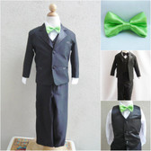 Boy's Suit Set with Bow Tie in Black with Green Apple