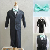 Boy's Suit Set with Bow Tie in Black with Green Mint