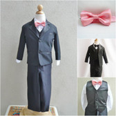 Boy's Suit Set with Bow Tie in Black with Coral