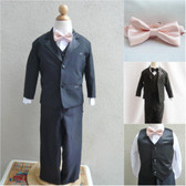 Boy's Suit Set with Bow Tie in Black with Peach Light