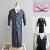 Boy's Suit Set with Bow Tie in Black with Pink Light