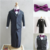 Boy's Suit Set with Bow Tie in Black with Purple Plum