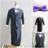 Boy's Suit Set with Bow Tie in Black with Purple