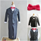 Boy's Suit Set with Bow Tie in Black with Red