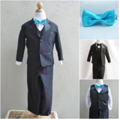 Boy's Suit Set with Bow Tie in Black with Turquoise