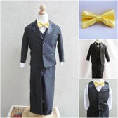 Boy's Suit Set with Bow Tie in Black with Yellow