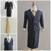 Boy's Suit Set with Long Tie in Black with Gold