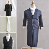 Boy's Suit Set with Long Tie in Black with Ivory
