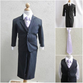 Boy's Suit Set with Long Tie in Black with Lilac