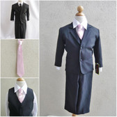 Boy's Suit Set with Long Tie in Black with Pink Light