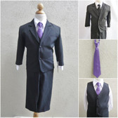 Boy's Suit Set with Long Tie in Black with Purple