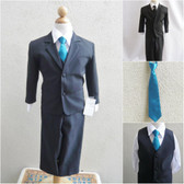 Boy's Suit Set with Long Tie in Black with Teal