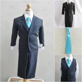 Boy's Suit Set with Long Tie in Black with Turquoise