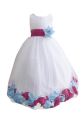 Rose Petal Dress Combination Fuchsia and Blue Sky (Custom Colors)