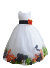 Rose Petal Dress Combination Black, Green Apple, and Orange (Custom Colors)