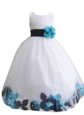 Rose Petal Dress Combination Black and Turquoise (Custom Colors)