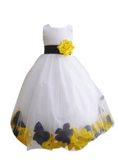 Rose Petal Dress Combination Black and Yellow (Custom Colors)