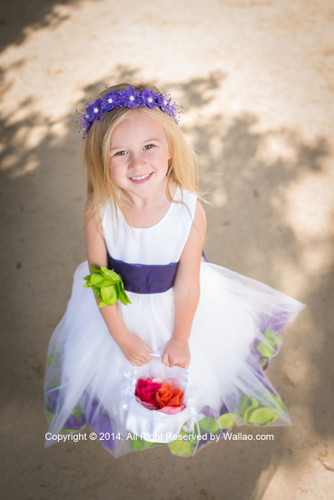 Rose Petal Dress Combination Green Apple and Purple (Custom Colors)