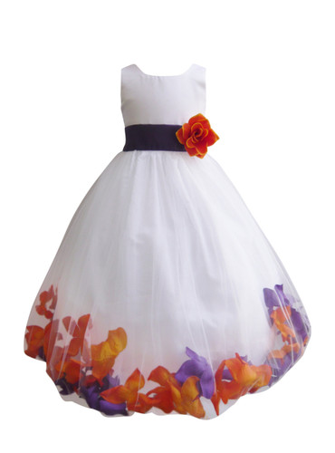 Rose Petal Dress Combination Orange and Purple (Custom Colors)