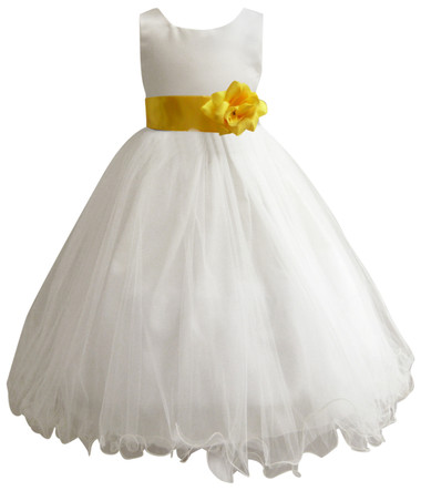 Curly Bottom Ivory Gown, Yellow Sash