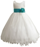 Curly Bottom Ivory Gown, Teal Sash
