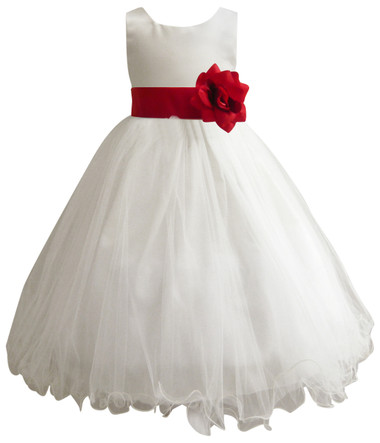 Curly Bottom Ivory Gown, Red Cherry Sash