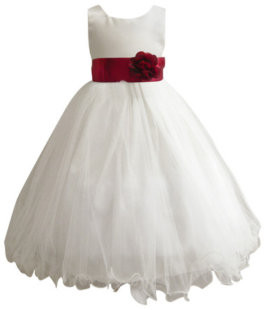 Curly Bottom Ivory Gown, Red Sash