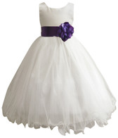 Curly Bottom Ivory Gown, Purple Sash